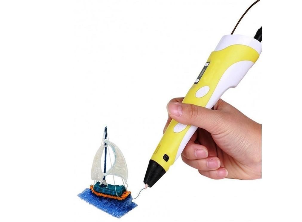 3D ручка c LCD дисплеем 3D Pen-2, желтая