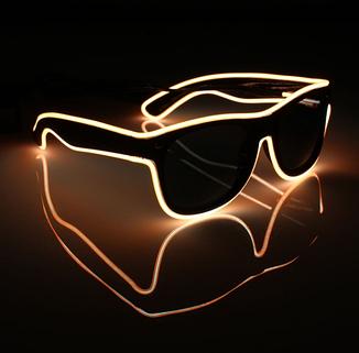 Очки светодиодные  солнцезащитные El Neon ray orange неоновые, фото 2