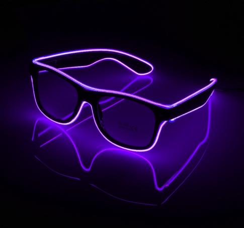 Очки светодиодные  прозрачные El Neon ray purple неоновые