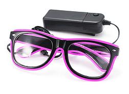 Очки светодиодные  прозрачные El Neon ray purple неоновые, фото 3