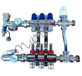 Коллектор для теплого пола AquaWorld на 3 контура в сборе без насоса с трехходовым термостатическим клапаном