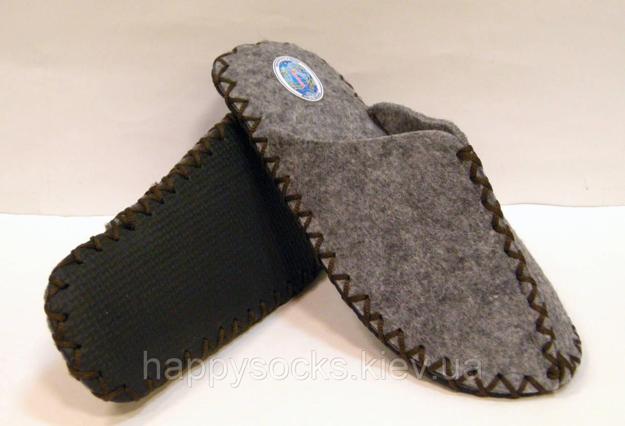 Эксклюзивные войлочные тапочки женские для дома с коричневым шнурком 38-39р