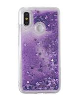 Бампер чехол с блёстками Xiaomi Redmi Note 7 Цвет фиолетовый