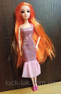 Шарнірна лялька з рудими довгими волоссям і скляними 3D очима + одяг та взуття