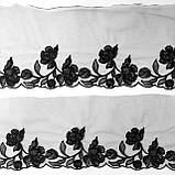 Ажурное кружево вышивка на сетке, черного цвета, ширина 20 см, фото 3