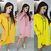Платье туника, женское, повседневное, свободное, ровное, с капюшоном и карманами, модное, стильное, до 52 р-ра