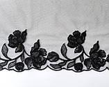 Ажурное кружево вышивка на сетке, черного цвета, ширина 20 см, фото 2