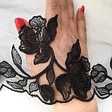 Ажурное кружево вышивка на сетке, черного цвета, ширина 20 см, фото 5