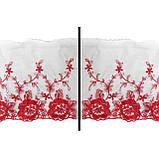 Ажурное кружево вышивка на сетке, красного цвета, ширина 20 см, фото 3