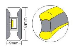 Двусторонняя LED неоновая излучающая лента LTL FLEX 8х16mm 120 LED 2835smd IP67 220v Sky blue, фото 2