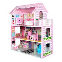 Деревянный домик для кукол с мебелью MD 1204 , трёхэтажный