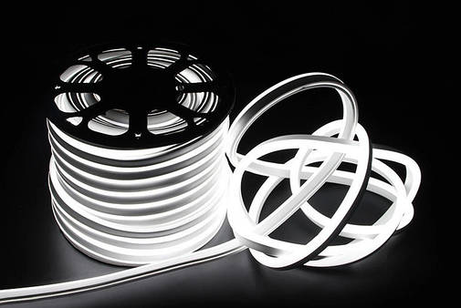 Двусторонняя LED неоновая излучающая лента IP67 220v White, фото 2