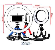 Кольцевая лампа для блогеров (26 см. диаметр кольца) +мини-студийный Трипод, фото 3