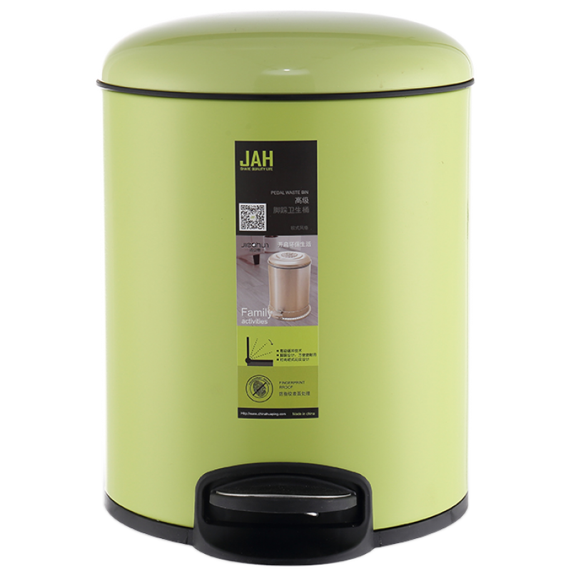 Ведро для мусора JAH 12 л (алюминий, цвет зеленый, внутреннее ведро)