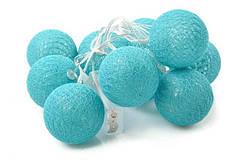 Гирлянды Cotton Balls Blue Sky Тайские Шарики 10led, диам 6см, длина 180см на батарейках АА