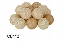 Гирлянда тайская декоративная LTL Autunno  Cotton Balls 20led, диам 6см, длина 330см на батарейках АА