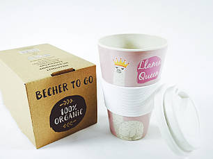 Кофейная кружка to go becher 350ml bambus Lama Qeen, фото 3