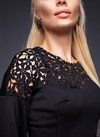 Платье Открытое плечо перфорацией чёрное