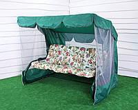 Садовые качели ТАИТИ с синтепоновой подушкой (бежевый цветок) Бесплатная доставка!
