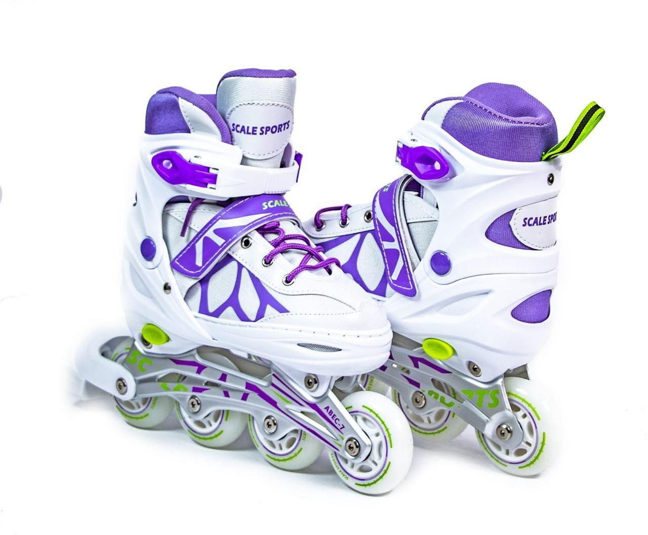 Ролики раздвижные детские Scale Sports  601B Бело-Сиреневого цвета, размеры 29-33; 34-37; 38-41