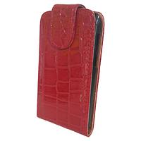 Чехол книжка на Nokia Asha 205 Змеиный принт Красный
