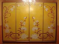 Шкафы-купе, «Цветы на желтом фоне «, краска, Одесса, Херсон, Николаев