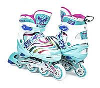Ролики Раздвижные Детские Scale Sports 907 Нежно Бирюзового цвета, размеры 29-33; 34-37; 38-41