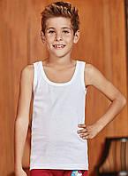 Майка детская для мальчика белого цвета 100% хлопок Tutku