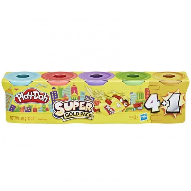 Play-Doh Супер набор пластилина 5 баночек 560 грамм E8144 E8142 Super gold Pack