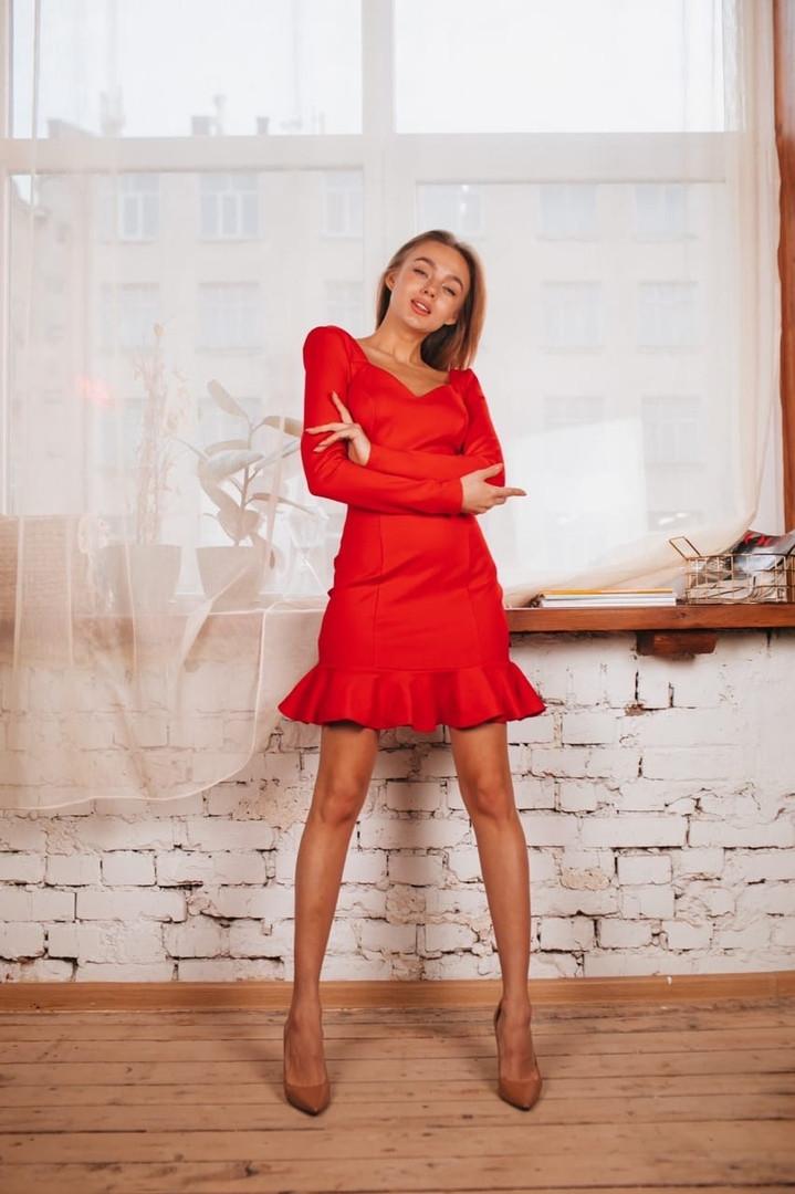 """Стильное женское красное платье """"Мерлин"""""""