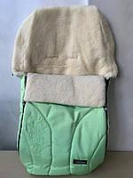 Спальный детский оригинальный конверт на овчине Womar (Zaffiro) № 25 Snowflake салатовый