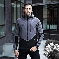 Мужская куртка Pobedov Soft Shell «Romka» серо-черная