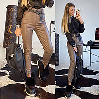 Женские кожаные брюки с завышенной талией и открытыми швами (т,синий,черный,мокко, размер С и М,пояс отдельно), фото 1