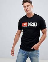 """Черная футболка """"В стиле Diesel denim division""""   логотип принт"""