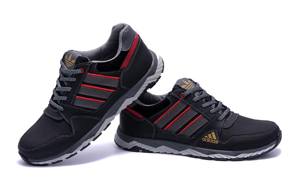 Мужские кожаные кроссовки Adidas Tech Flex Black (реплика)