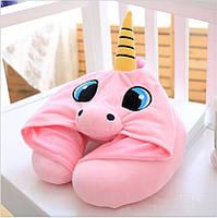 Розовая дорожная подушка на шею с капюшоном Единорог. Подушка Единорог 30x23 см