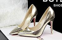 Золотистые туфли с острым носком, 37 р.
