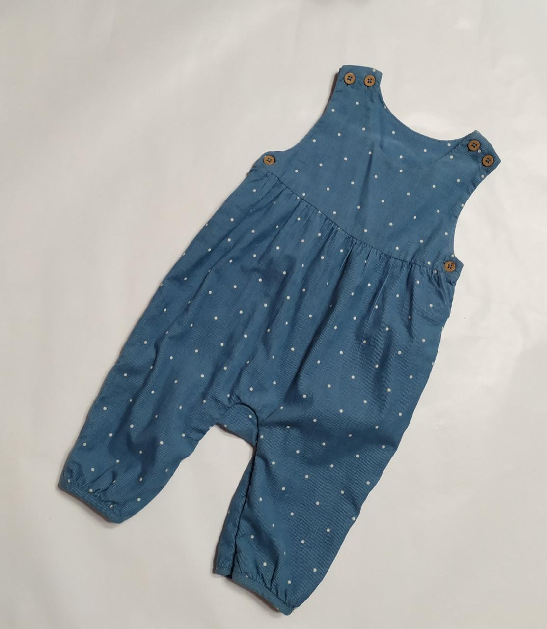 Штани-комбінезон для дівчинки сині в білий горошок M&S р. 3-6міс (68см.)