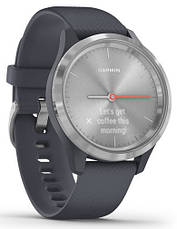 Смарт-годинник Garmin Vivomove 3S Silver Stainless Steel Bezel with Granite Blue Case and Silicone Band, фото 3