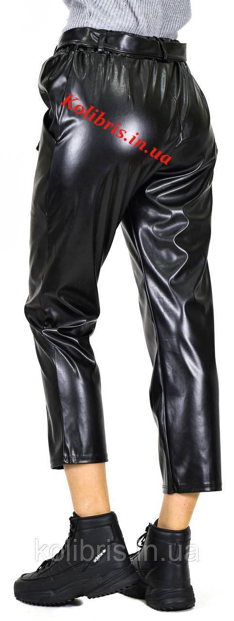 Кожаные штанишки момы черная эко-кожа