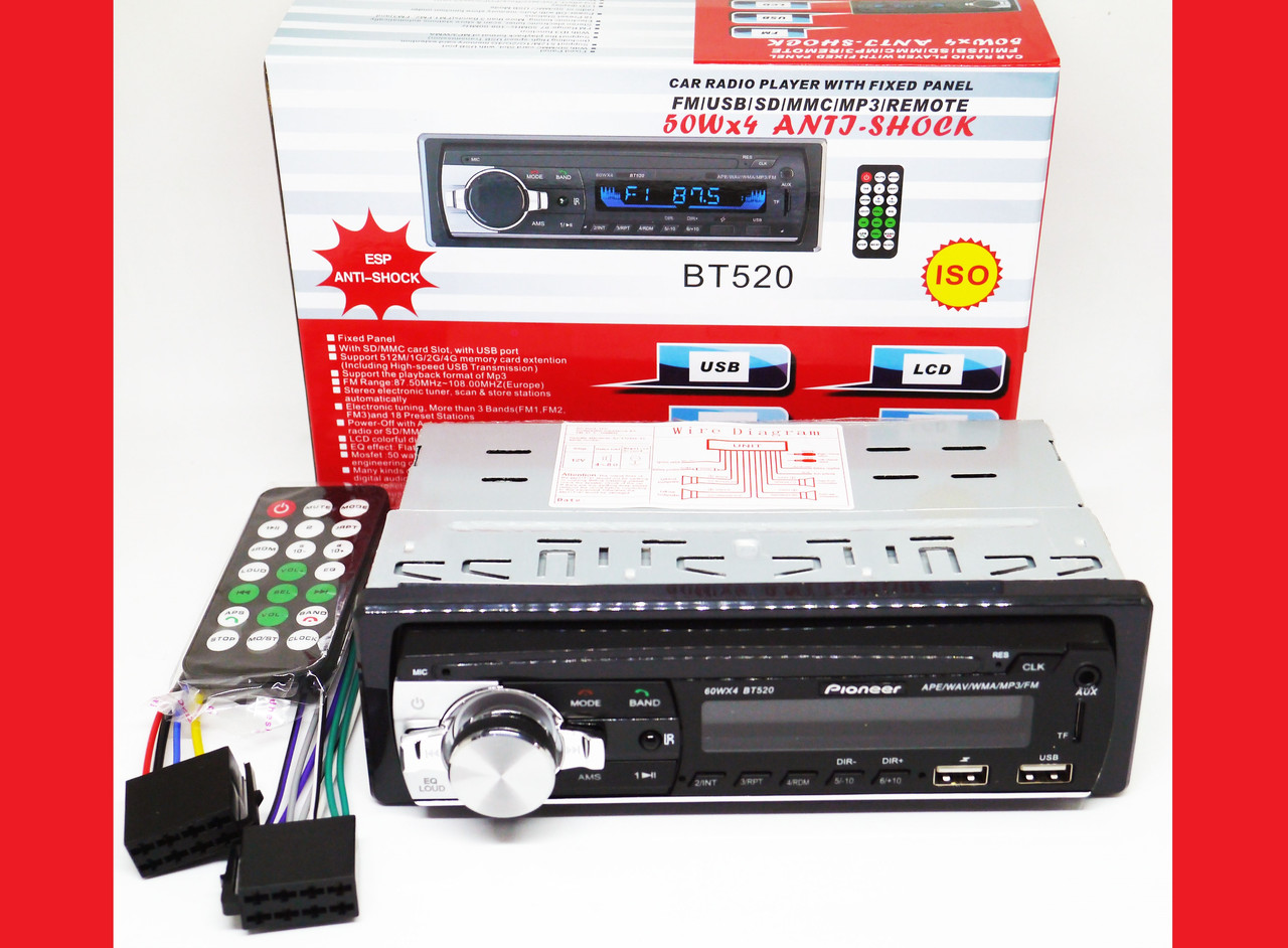 Pioneer BT520 ISO - MP3+FM+2xUSB+SD+AUX + BLUETOOTH
