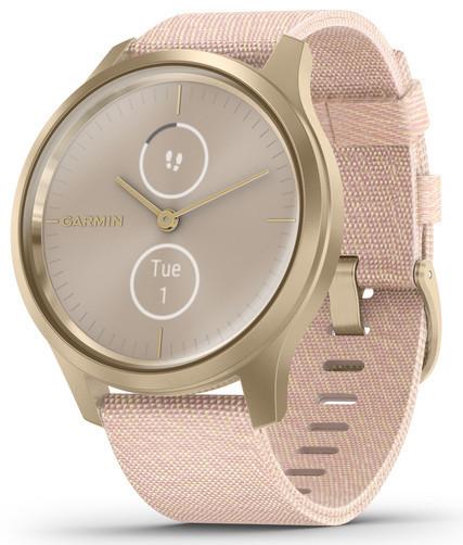 Смарт-годинник Garmin Vivomove Style Light Gold Aluminum Case with Blush Pink Woven Nylon Band