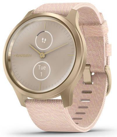 Смарт-годинник Garmin Vivomove Style Light Gold Aluminum Case with Blush Pink Woven Nylon Band, фото 2