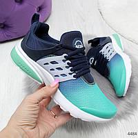 Синие с мятным кроссовки с модной шнуровкой