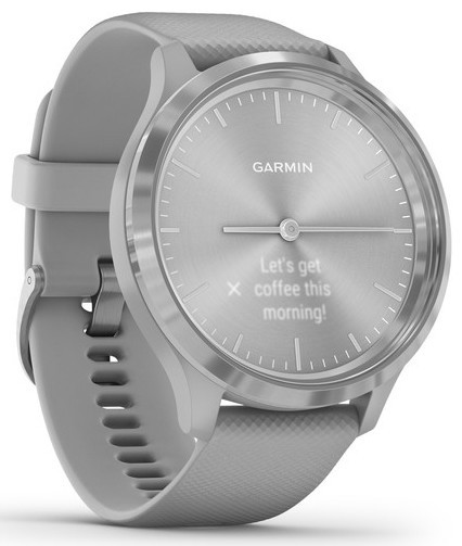 Смарт-годинник Garmin Vivomove 3 Silver Stainless Steel Bezel with Powder Gray Case and Silicone Band