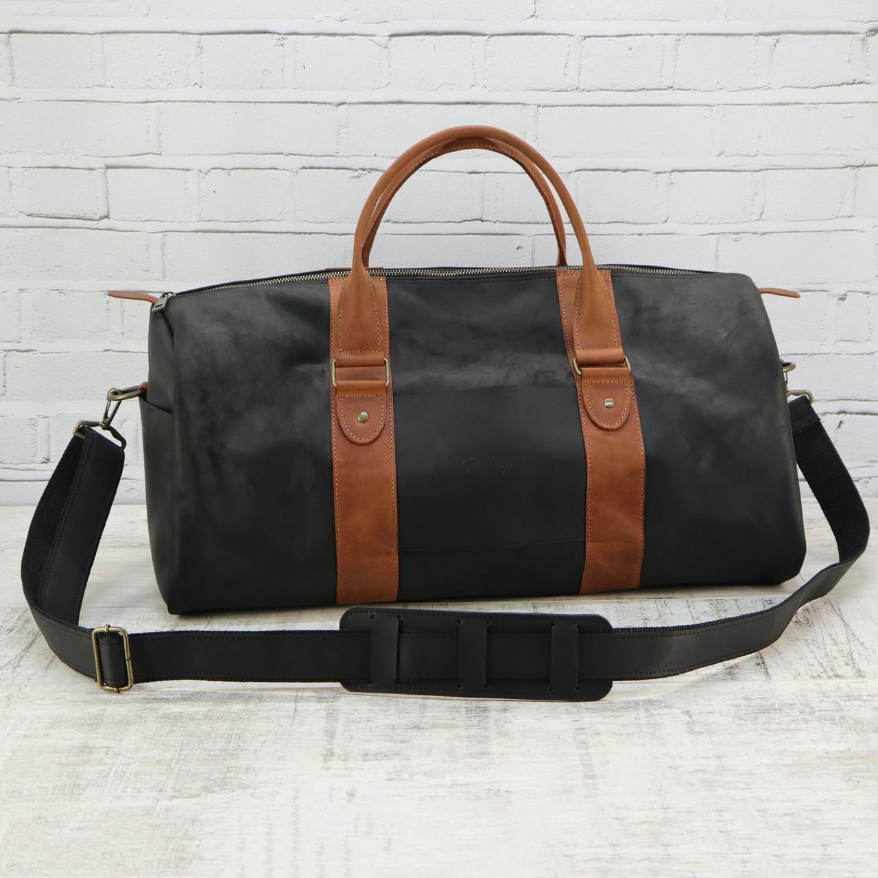 Дорожная сумка tube 2 чёрная из натуральной кожи crazy horse