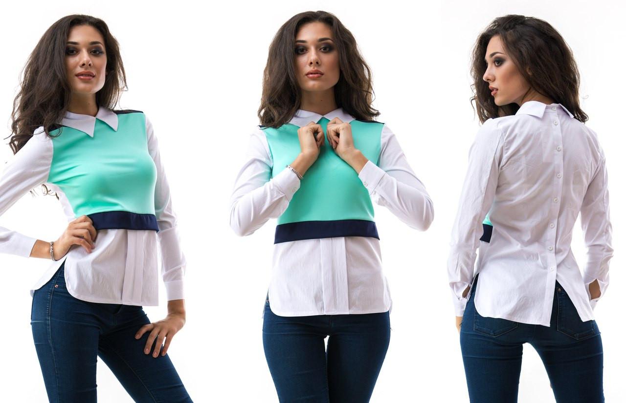 Стильная рубашка с цветными вставками