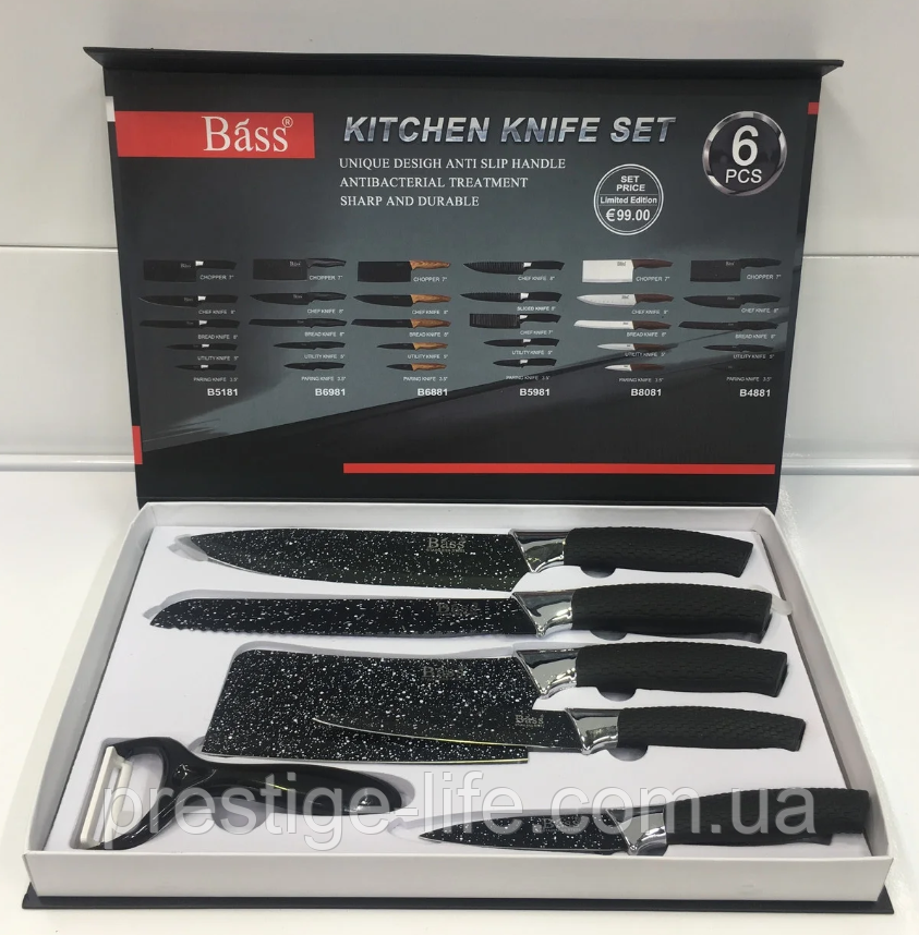 BASS набір ножів (з силіконовою ручкою), 6 предметів