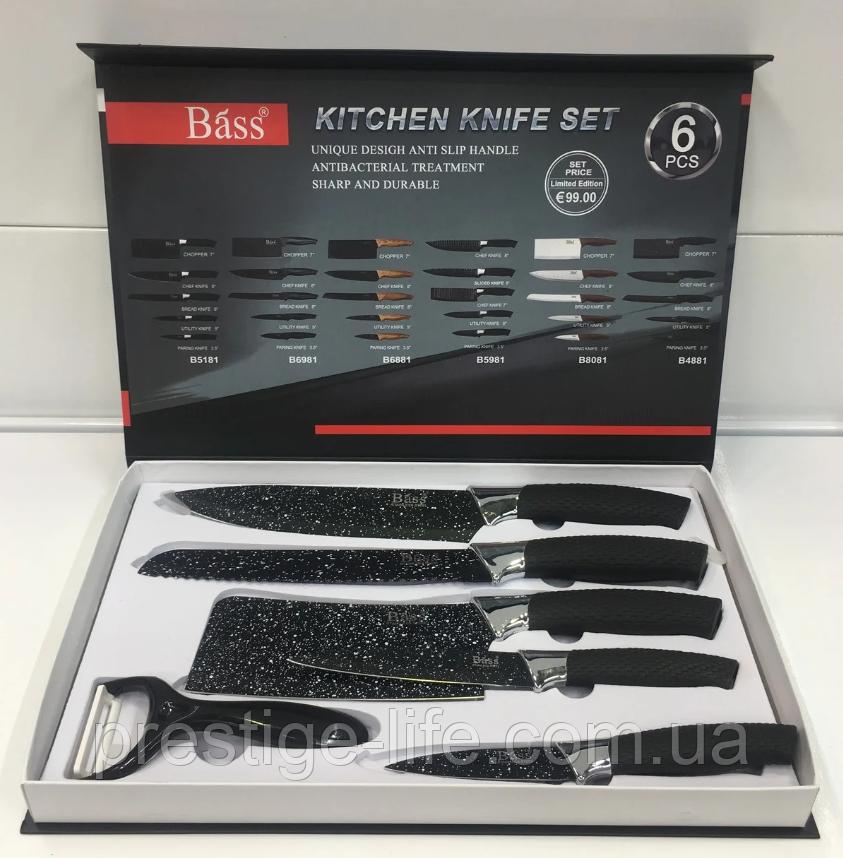BASS набор ножей (с силиконовой ручкой), 6 предметов