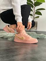 Женские кроссовки в стиле Nike Air Jordan 1 Low Coral Suede, фото 3